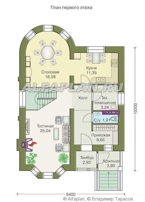 План этажа одноэтажного дома с террасой